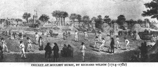 Cricket Match on Moulsey Hurst, by Richard Wilson (1714 - 1782)