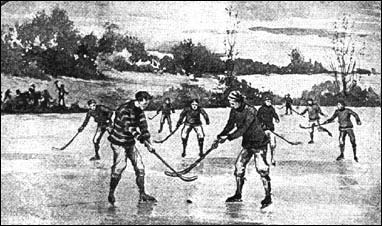"""Drawing of Early Hockey 1890s Players in foreground involved in a """"Bully"""""""