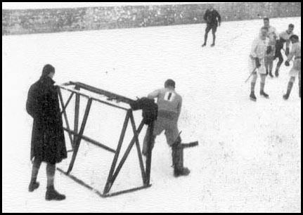 Goal Judge Behind the N.S. Box Net - Outdoor Ice Hockey