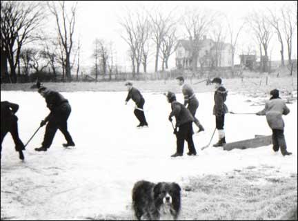 "Pond Hockey - Nesbitt Street ""the Island"", Windsor, N.S. 1940s"