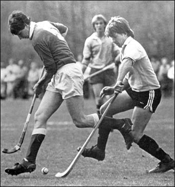 Modern Shinty in Scotland 1984 Sutherland Cup action - Bute v Fort William. Pic. D. Mackay