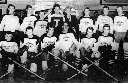 Raymond Cope and Sandy Julien as players on the McClures Mills Hockey Team in the 1950s