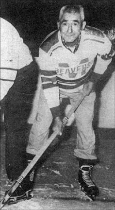 """Raymond Cope as a """"Gentlemen's Hockey"""" player in his 60s."""