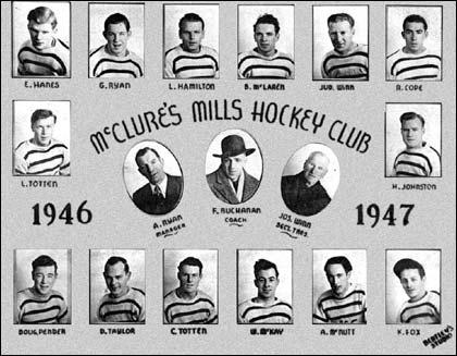 McClure's Mills Hockey Team 1946 Raymond Cope (top right corner) Nova Scotia Mi'kmaq, playing on an integrated team.