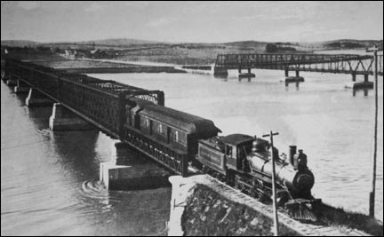 "The Flying Bluenose Train Crossing the Windsor ""Basket"" Bridge"