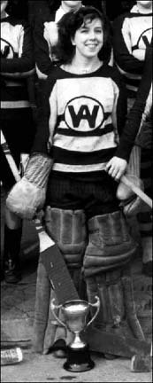 Joan Vaughan - Windsor Academy Girls Goalie 1946 (close-up view/image)